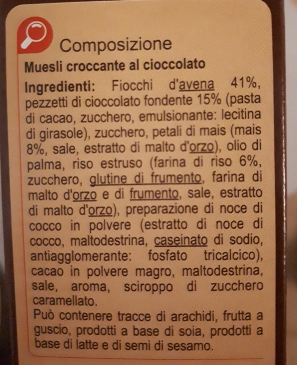 Carrefour Crunchy Muesli Chocolate - Ingrédients
