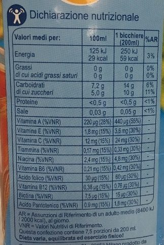 Drink MULTIVITAMINICO LIGHT - Informazioni nutrizionali - it