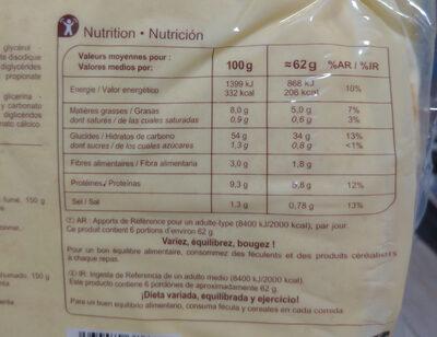 6 Wraps - Valori nutrizionali - fr