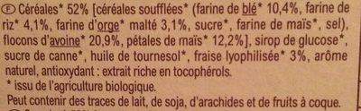 Barres céréalières aux fraises lyophilisées BIO - Ingrediënten