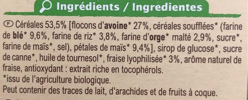 Barres céréalières Fraise - Zutaten - fr
