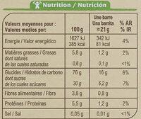 Barres céréalières Fraise - Nährwertangaben - fr