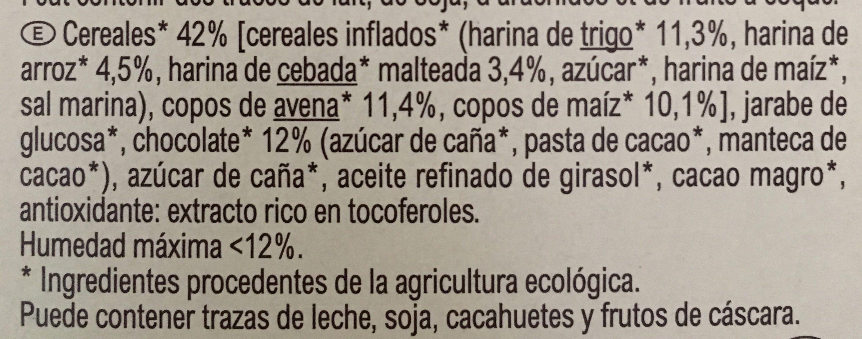 Barres céréales CRF bio chocolat - Ingredientes