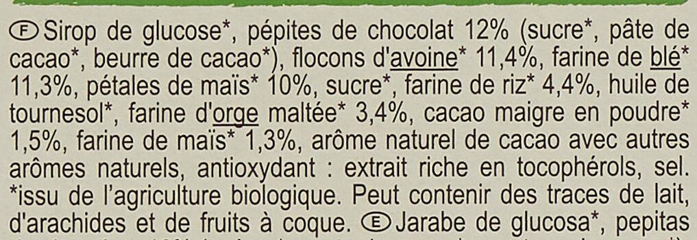 Barres céréales CRF bio chocolat - Ingrediënten - fr