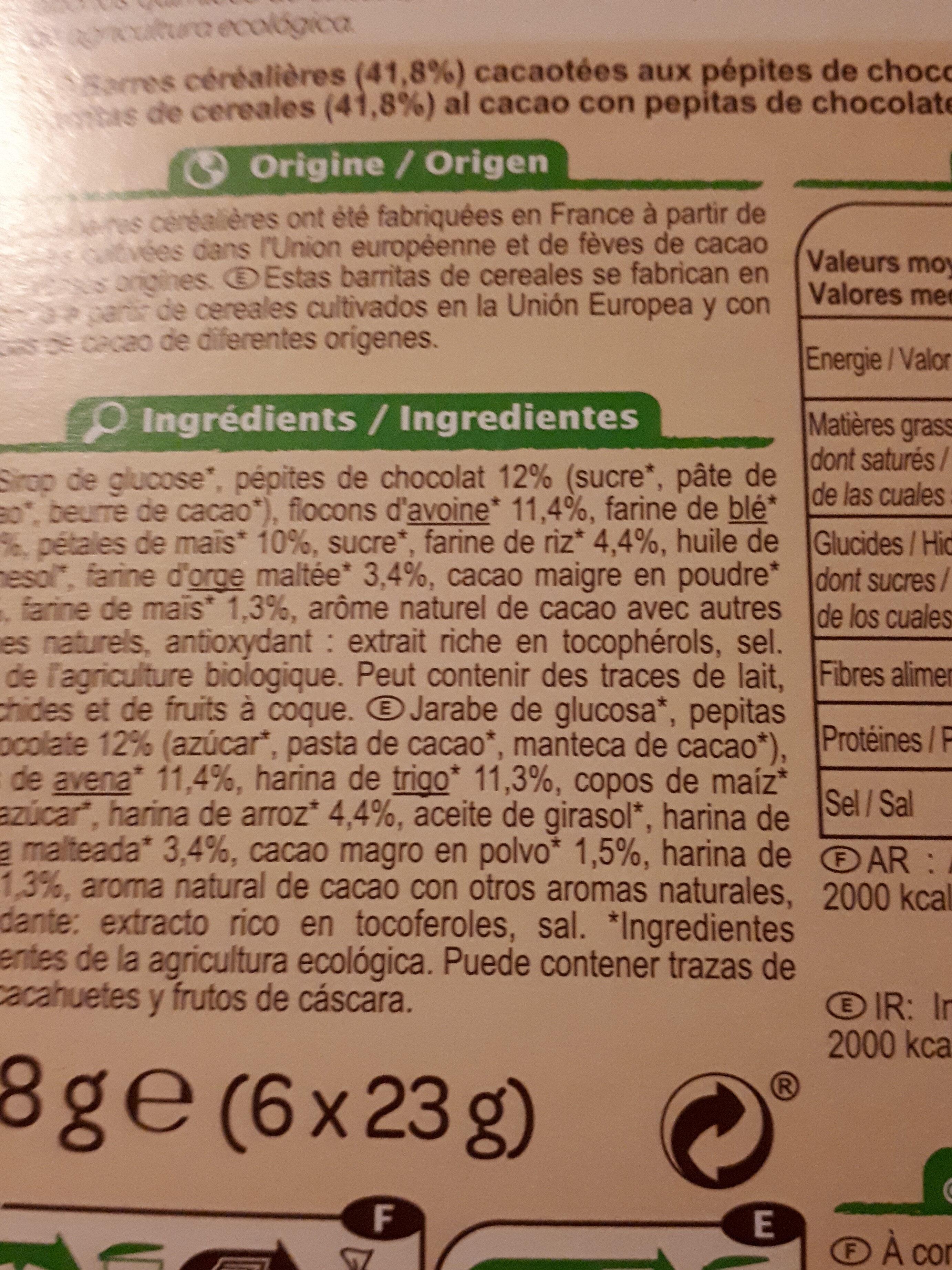 Barres céréales CRF bio chocolat - Ingredients - fr