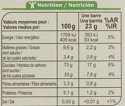 Barres céréales CRF bio chocolat - Nutrition facts - fr