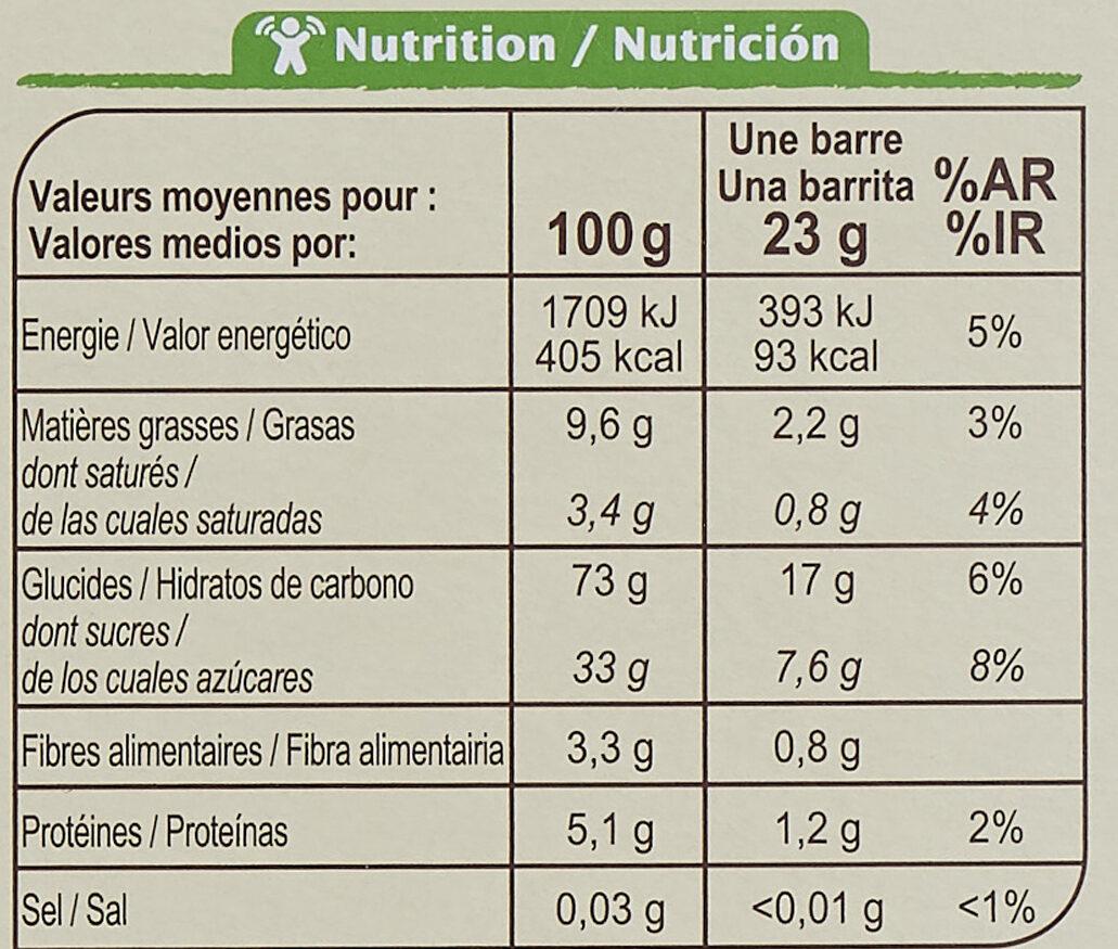 Barres céréales CRF bio chocolat - Información nutricional