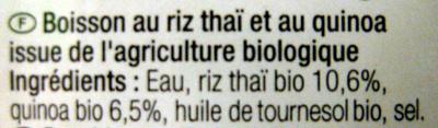 Boisson au riz thaï et quinoa Bio - Ingredientes