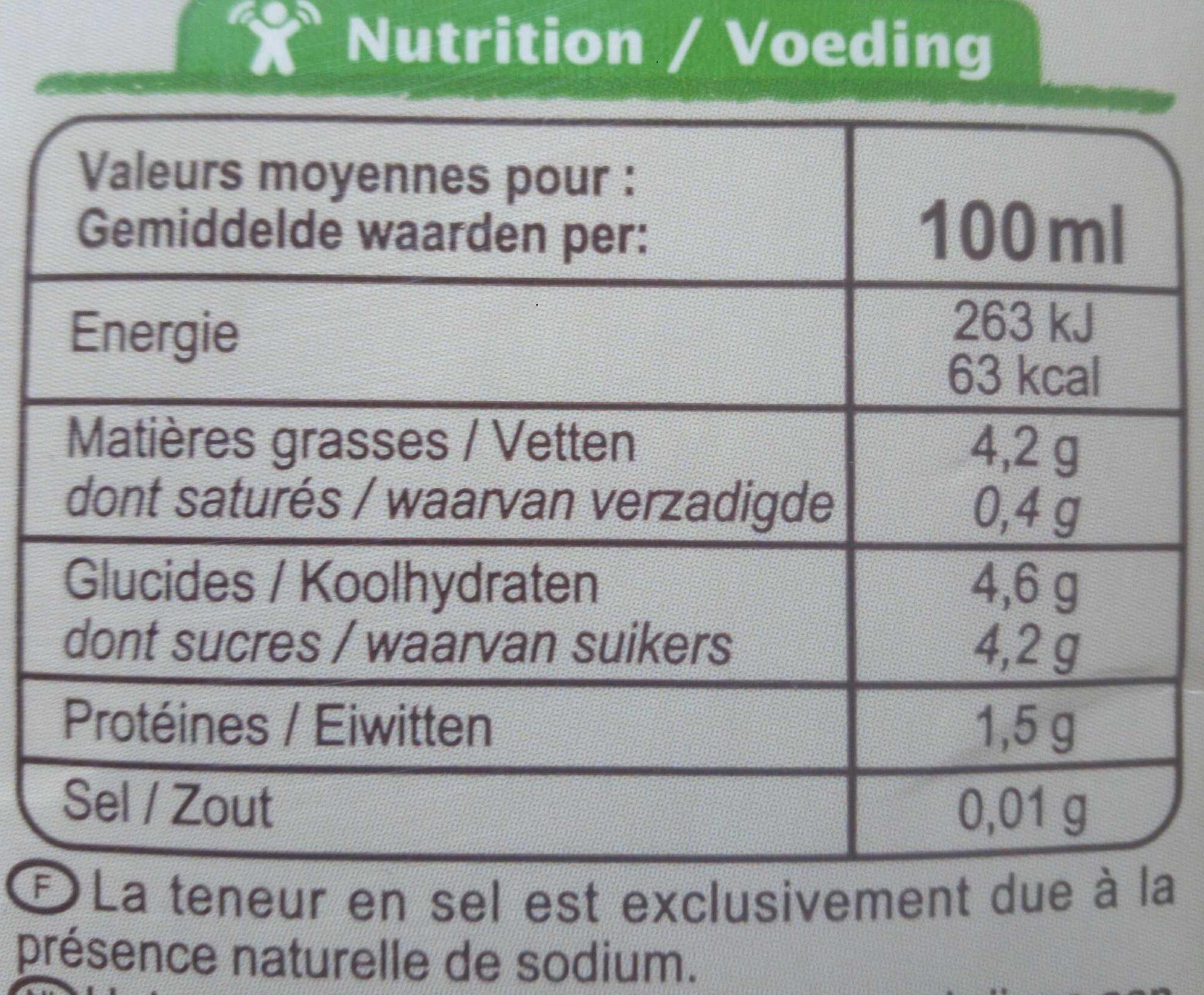 Boisson amande intense - Información nutricional