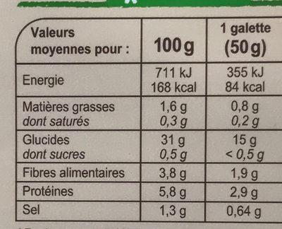 Galettes de blé noir bio - Voedingswaarden
