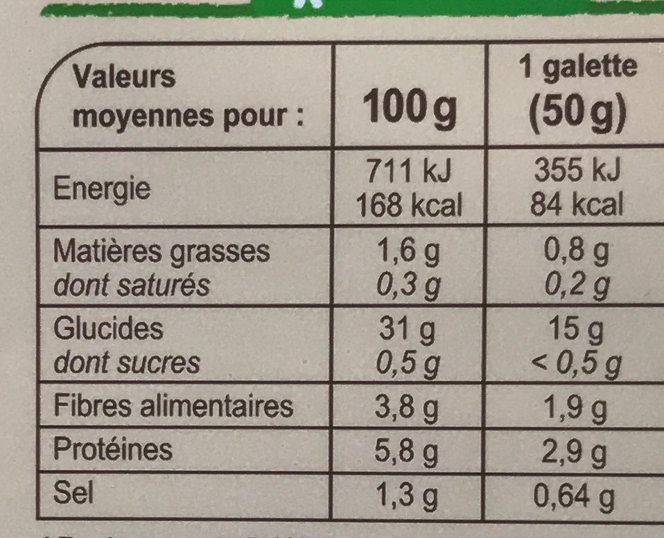 Galettes de blé noir bio - Voedingswaarden - fr
