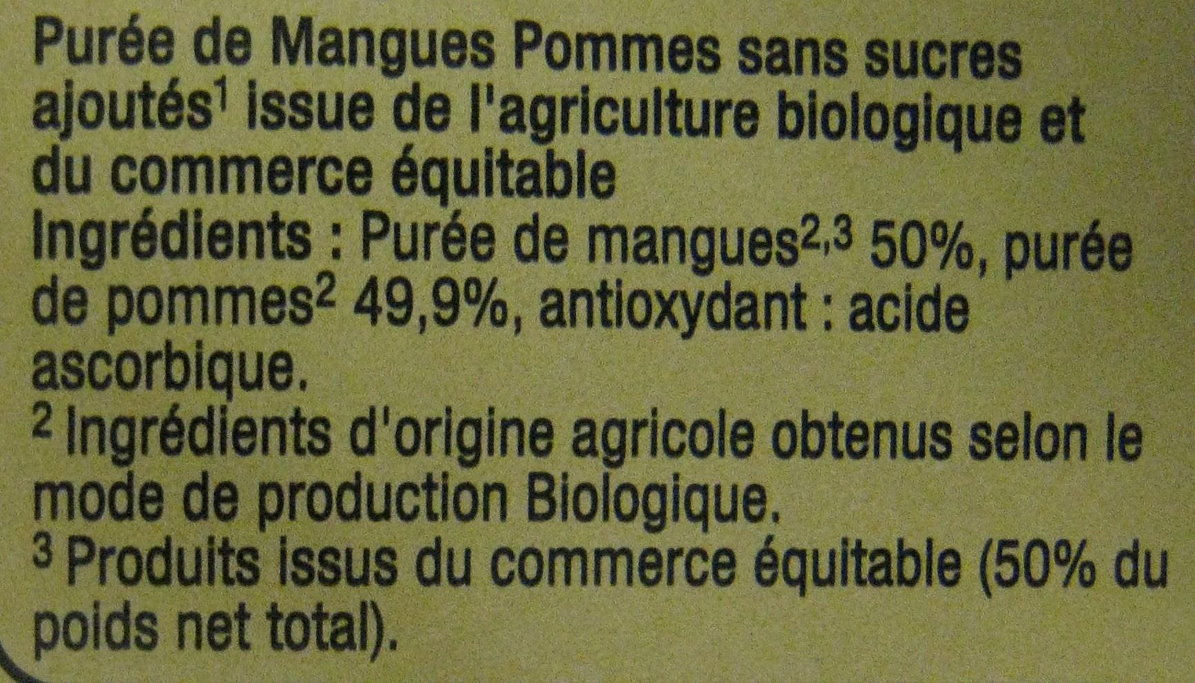 Purée de Mangues et de Pommes Bio Carrefour - Ingrédients