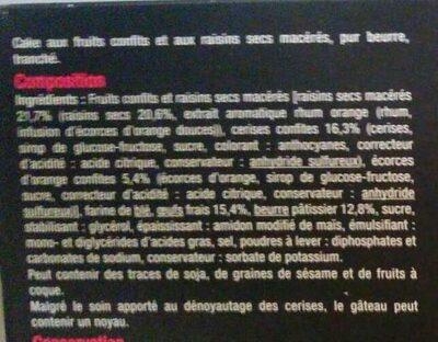 Cake aux fruits - Ingredients - fr