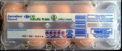 Oeufs frais (x 10) calibre Moyen - Produit