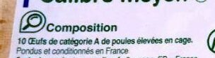 "10 œufs frais calibre moyen ""Œufs de France"" - Ingredients - fr"