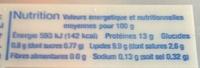 Oeufs frais (x 10) calibre Moyen - Informations nutritionnelles
