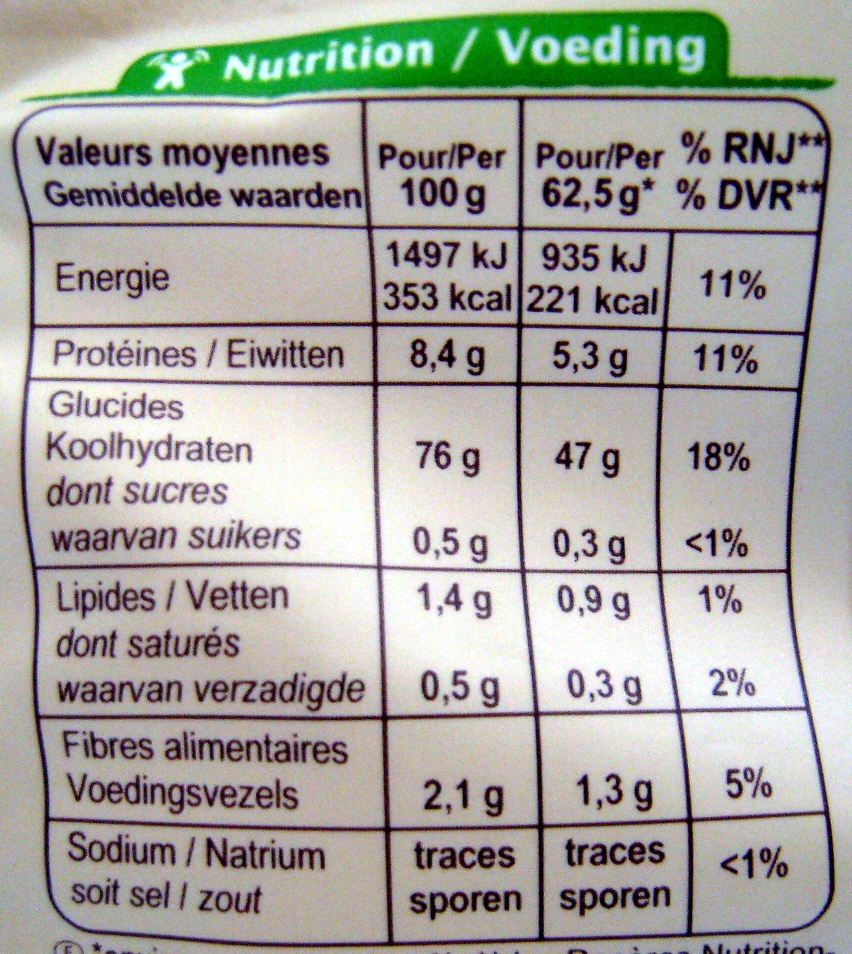Riz Thaï - Voedingswaarden - fr