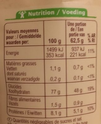 Riz Basmati - Nutrition facts