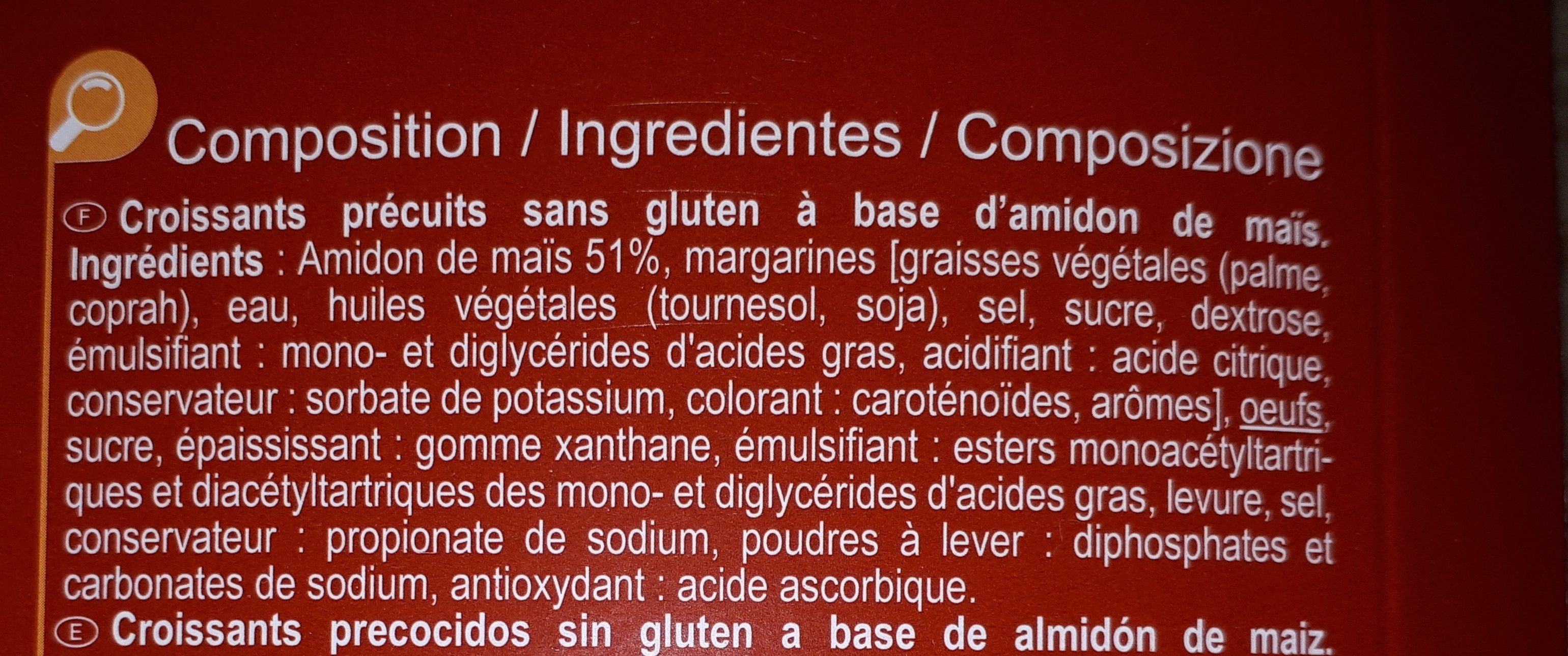 Croissants précuits sans gluten à base d'amidon de maïs - Ingredients