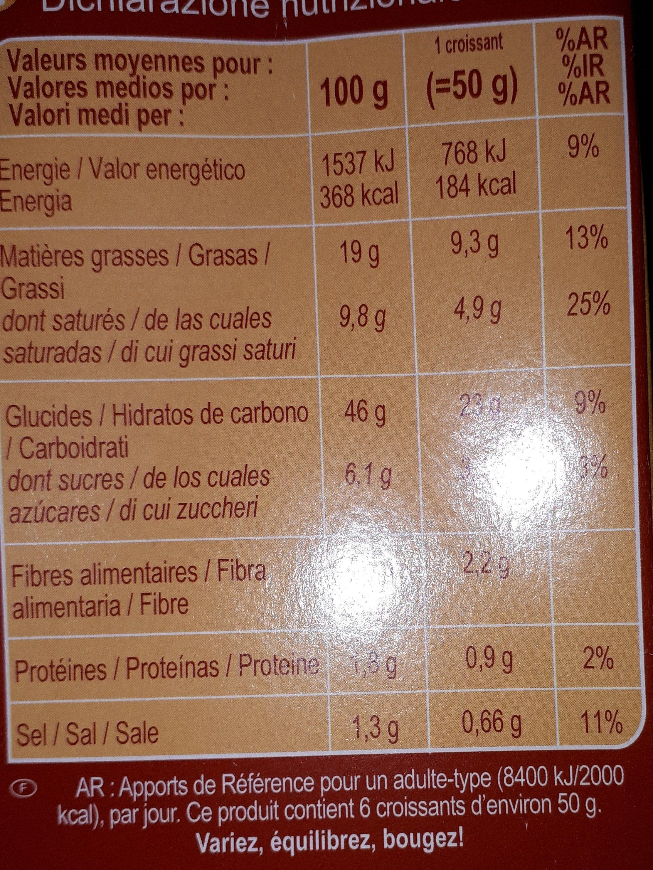 Croissant sin gluten - Informations nutritionnelles - fr