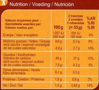 Pan de molde integral de arroz sin gluten - Información nutricional