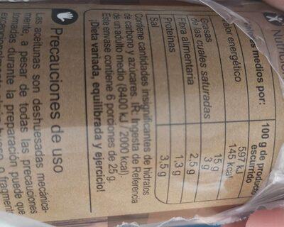 Aceitunas verdes rellenas con anchoas - Informació nutricional - es