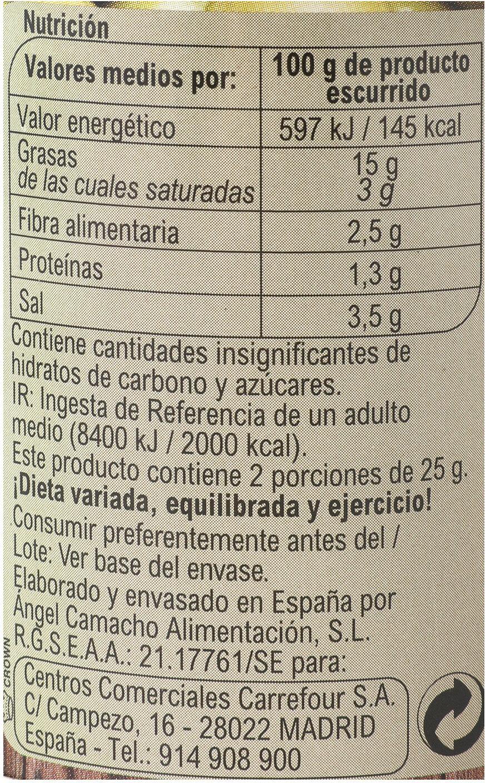 Aceituna rellena d anchoa - Informations nutritionnelles - es