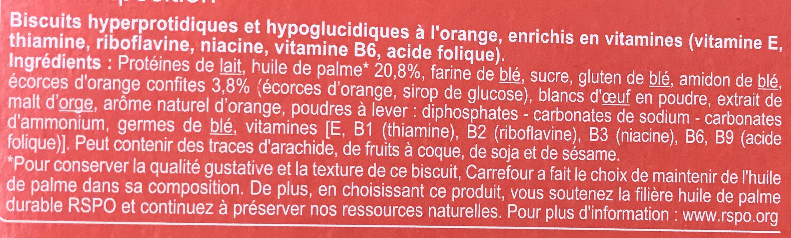 Biscuits hyperprotidiques et hypoglucidiques à l'orange - Ingredients - fr