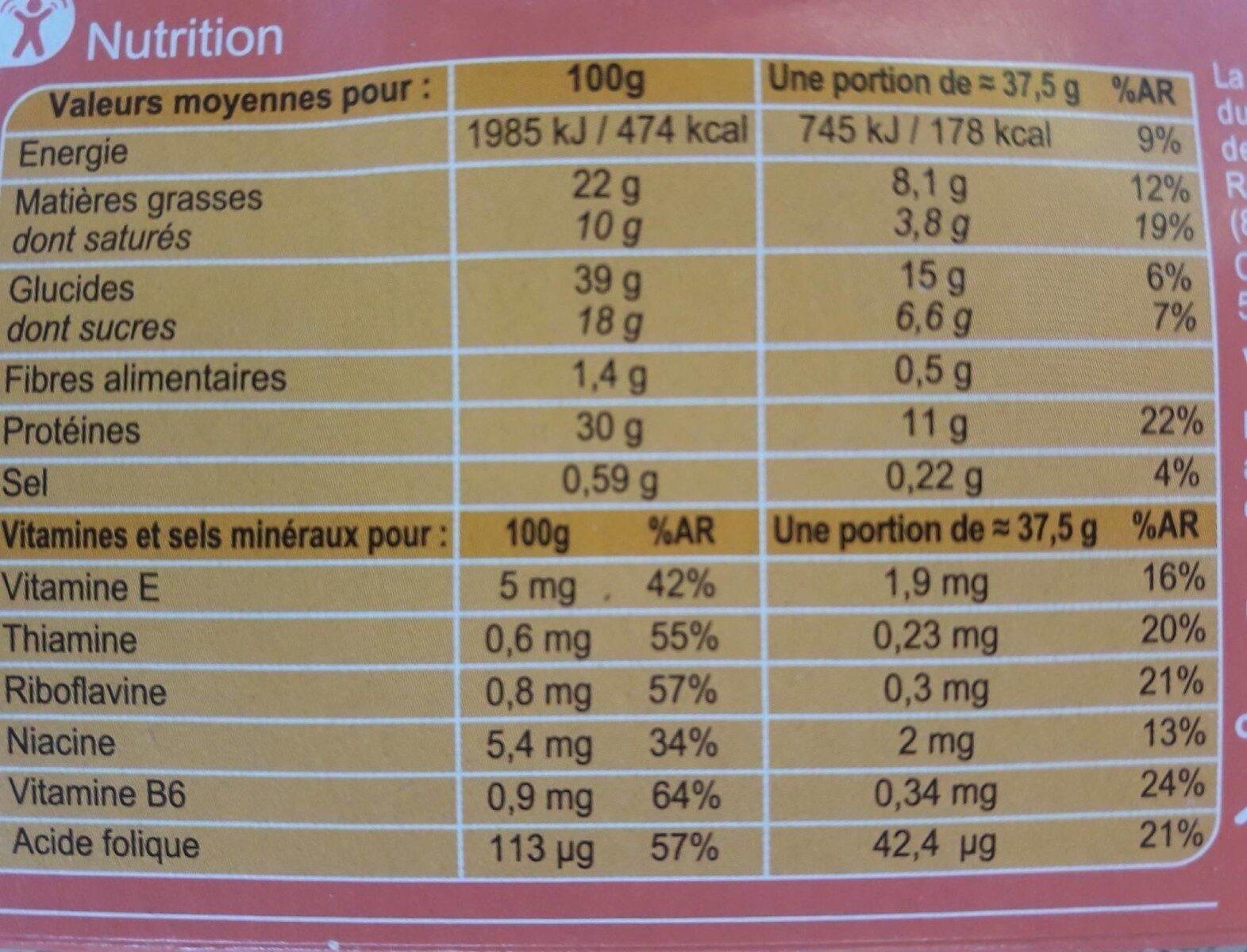 En-cas hyperprotéiné Biscuits à l'orange - Voedingswaarden - fr