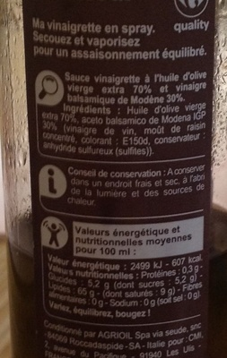 Vinaigrette en spray (Huile d'olive 70% & vinaigre balsamique 30%) 65% M.G. - Ingredients