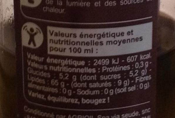 Vinaigrette en spray (Huile d'olive 70% & vinaigre balsamique 30%) 65% M.G. - Nutrition facts