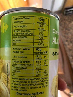 Corazones de alcachofas - Informations nutritionnelles - es