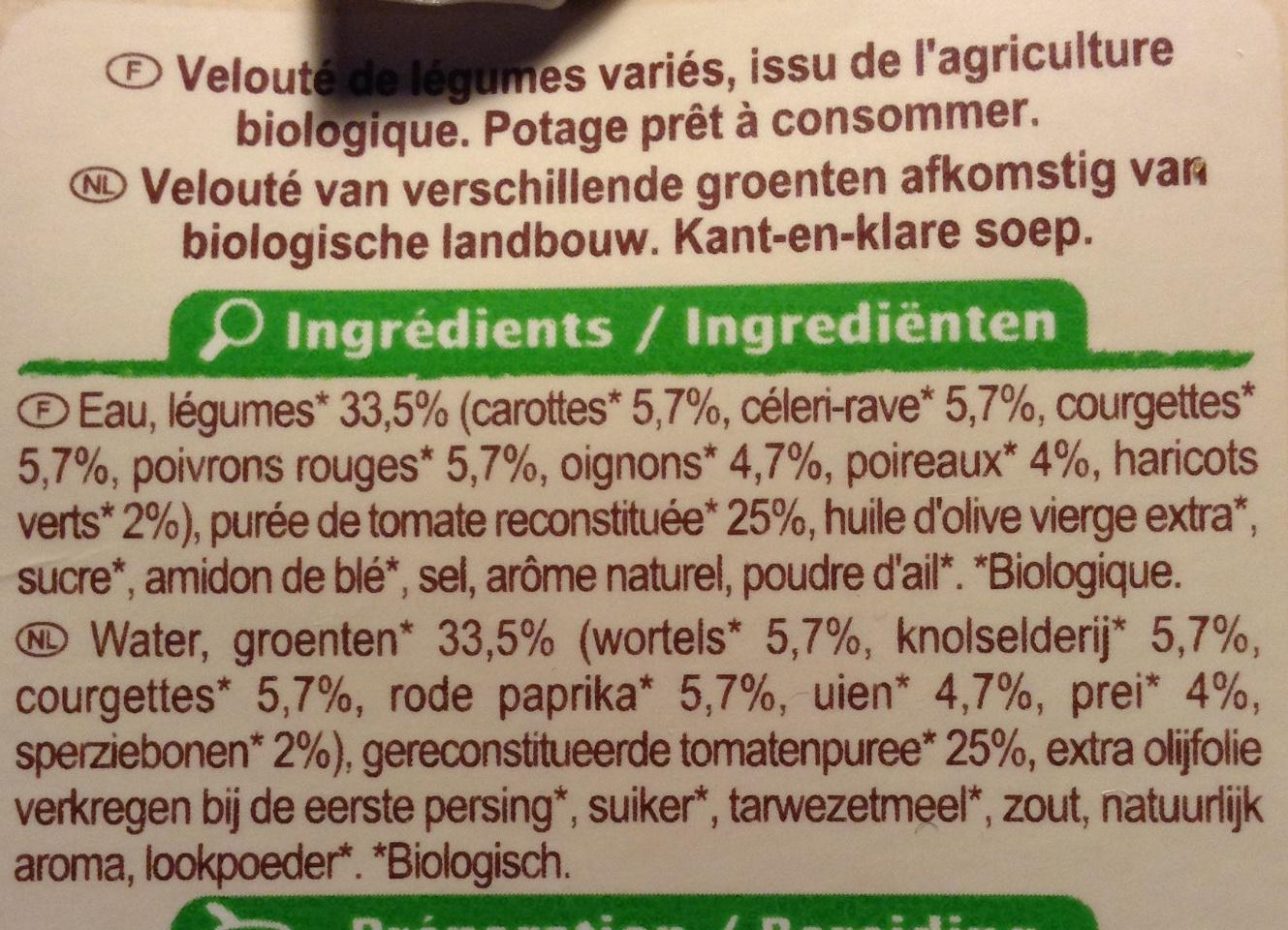 Velouté légumes saveur du Sud - Ingrediënten