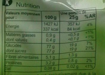 Raisins sultanines - Informations nutritionnelles - fr