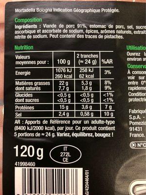 Mortadella bologna - Informations nutritionnelles - fr