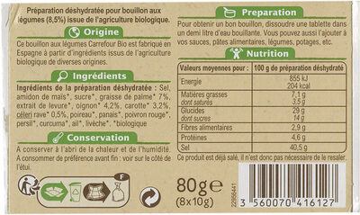 Bouillon de Volaille - Nutrition facts - fr