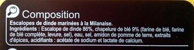 Escalopes de Dinde marinées à la milanaise - Ingredients - fr