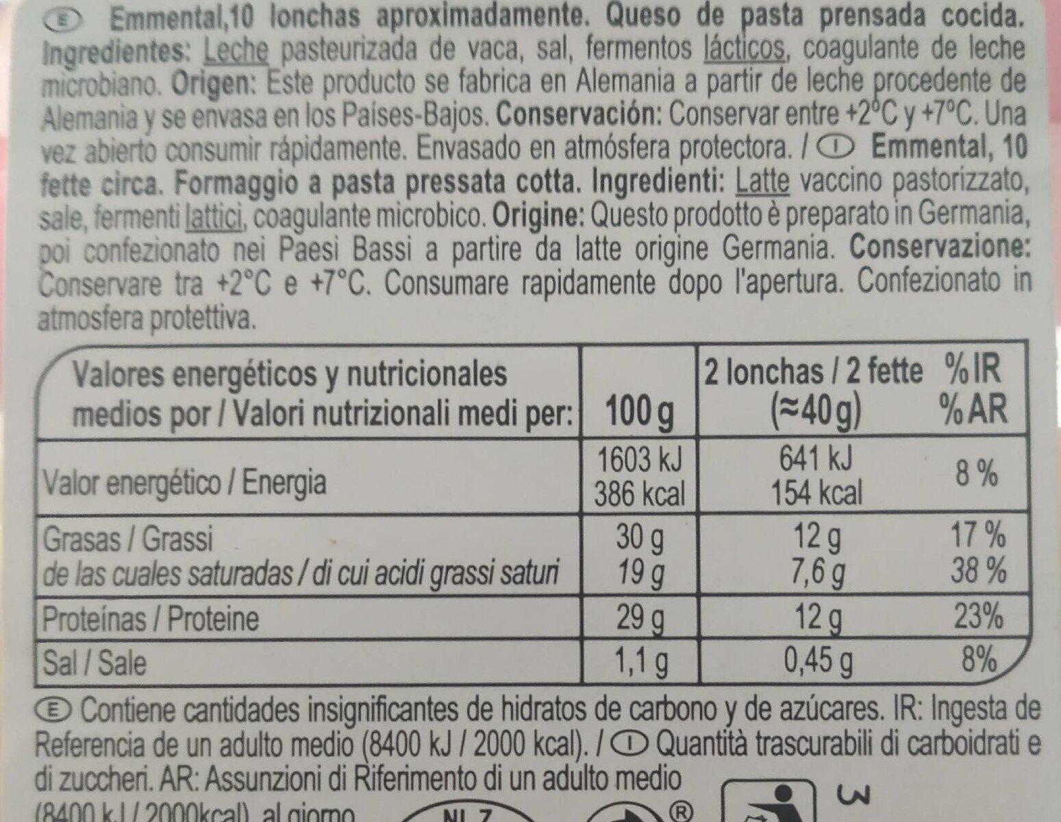 Emmental - Nutrition facts - fr