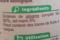 Gomasio condiment bio - Ingrédients