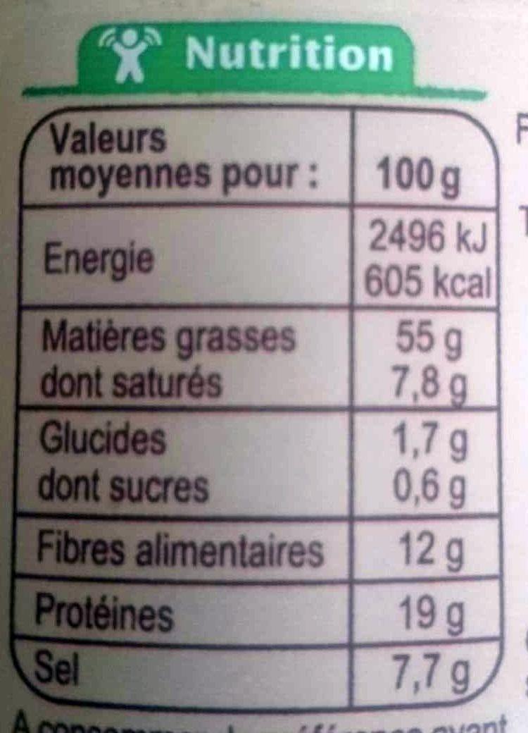 Gomasio condiment bio - Informations nutritionnelles