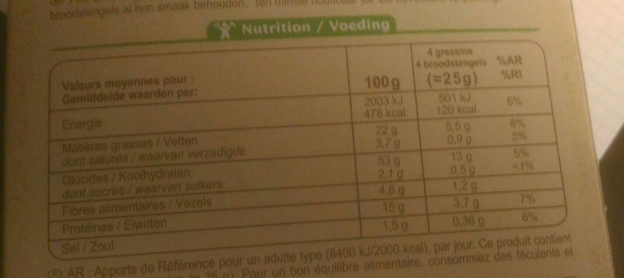 Gressins au sésame et à l'huile d'olive - Voedingswaarden - fr