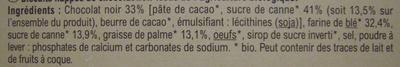Tartelettes Chocolat Noir Bio Carrefour - Ingrédients - fr