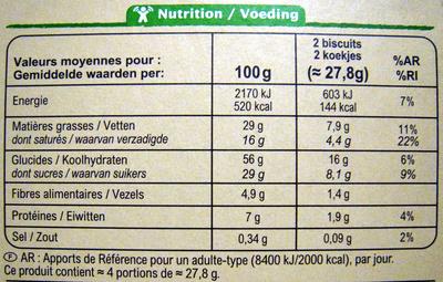 Tartelettes Chocolat Noir Bio Carrefour - Informations nutritionnelles - fr