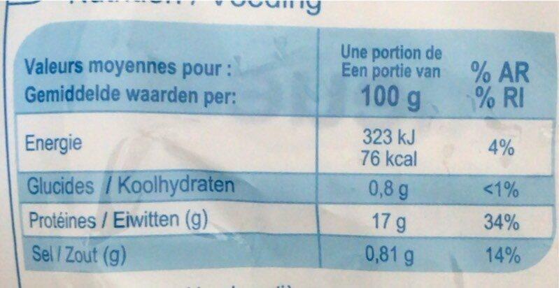 Queues De Crevette - Informations nutritionnelles - fr