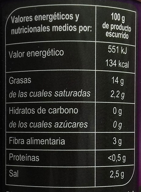 Aceitunas Negras sin hueso - Informations nutritionnelles