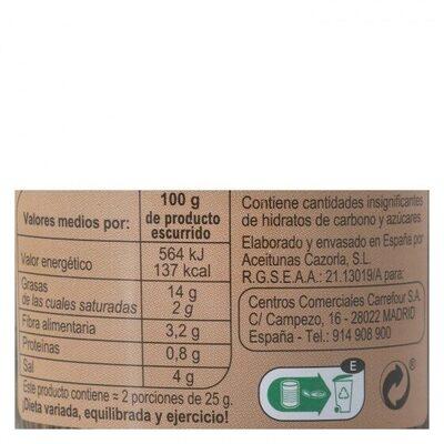 Aceituna verde en rodajas - Informació nutricional - es