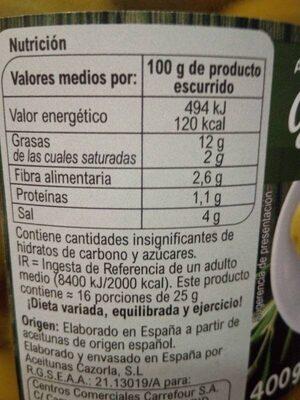 Aceitunas sin hueso gordal - Información nutricional