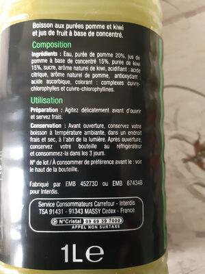 Jus Pomme Kiwi - Ingrediënten - fr