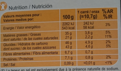 Carrefour Les carrés fondants Chocolat noir Fourrage Mousse - Nutrition facts - fr