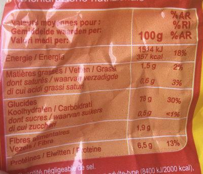 Fusilli (No Gluten*) - Informazioni nutrizionali